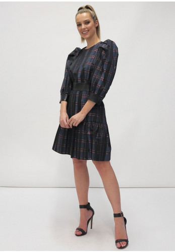 Fee G Metallic Check Puff Sleeve Dress, Navy