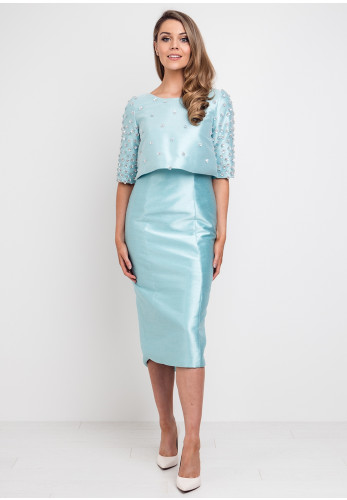 Fely Campo Floral Sequin Dress & Jacket, Aqua Blue