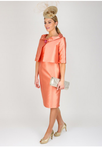 Fely Campo Textured Silk Dress & Jacket, Deep Peach