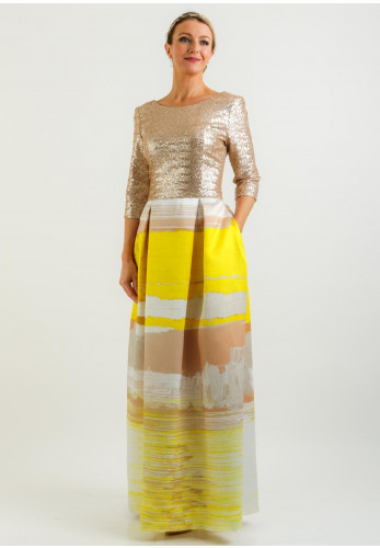 Fely Campo Sequin Bodice Long Dress, Gold & Yellow