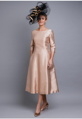 Fely Campo Metallic Shimmer Flared Dress, Rose Gold