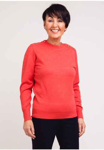 First Avenue Textured Spot Sweater Jumper, Coral