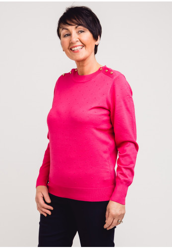 First Avenue Textured Spot Sweater Jumper, Pink