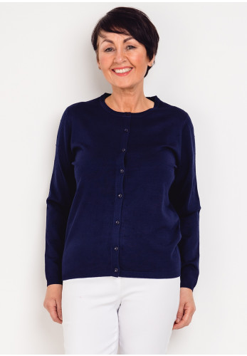 First Avenue Textured Spot Cardigan, Navy