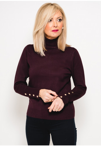 Leon Collection Button Cuff Polo Neck Jumper, Deep Purple