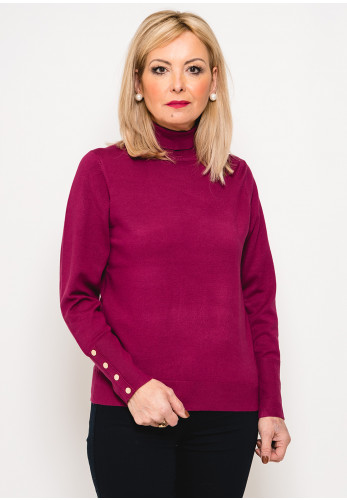 Leon Collection Button Cuff Polo Neck Jumper, Raspberry