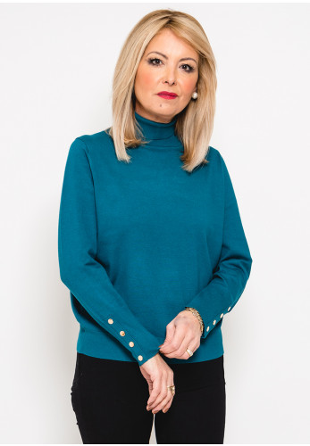 Leon Collection Button Cuff Polo Neck Jumper, Teal