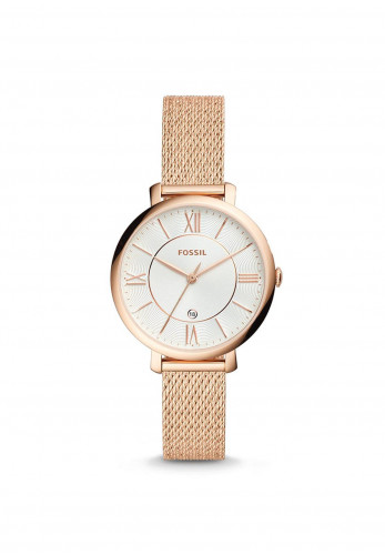Fossil Women's Jacqueline Stainless Steel Mesh Strap Watch, Rose Gold