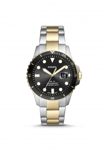 Fossil Three-Hand Two-Toned Stainless-Steel Watch, Black, Silver & Gold