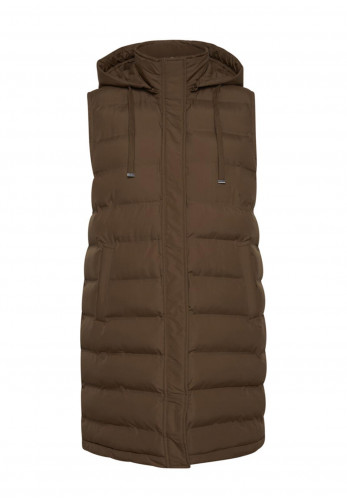 Fransa Hooded Quilted Longline Gilet, Brown