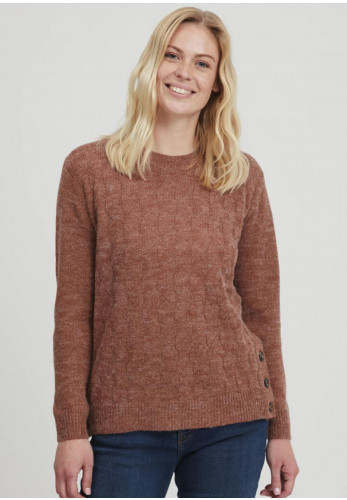 Fransa Buttoned Sides Knitted Jumper, Rust