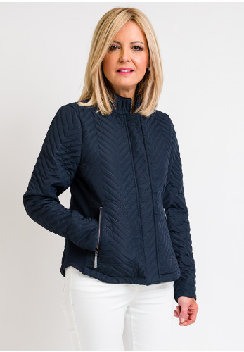 Fransa Chevron Quilted Jacket, Navy
