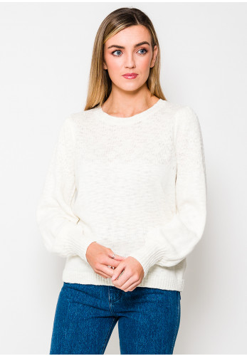 Fransa Woven Trim Knit Jumper, Off White