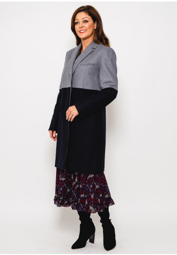 French Connection Erita Colour Block Wool Coat, Navy & Grey