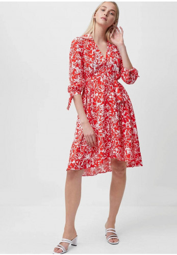 French Connection Fayola Petal Print Belted Dress, Red