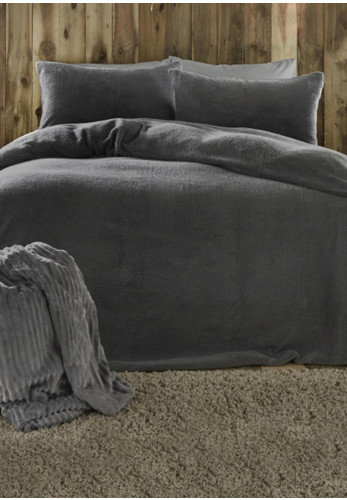 Fusion Teddy Fleece Duvet & Pillowcase Set, Charcoal