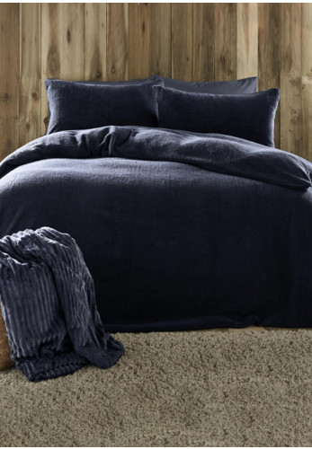 Fusion Teddy Fleece Duvet & Pillowcase Set, Navy