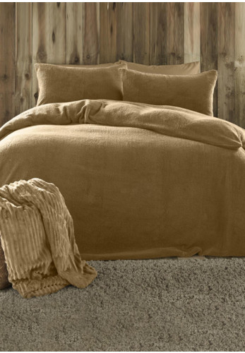 Fusion Teddy Fleece Duvet & Pillowcase Set, Ochre