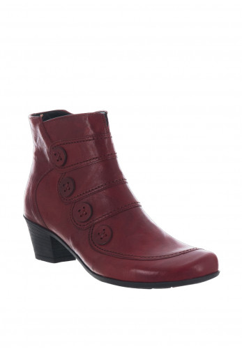Gabor Leather Best Fitting Button Ankle Boots, Red