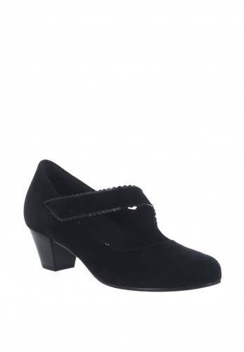 Gabor Suede H Wider Fit Velcro Shoes, Black