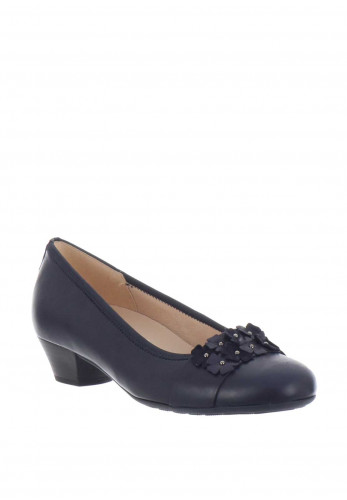 Gabor Leather Flower Heeled Pumps, Navy