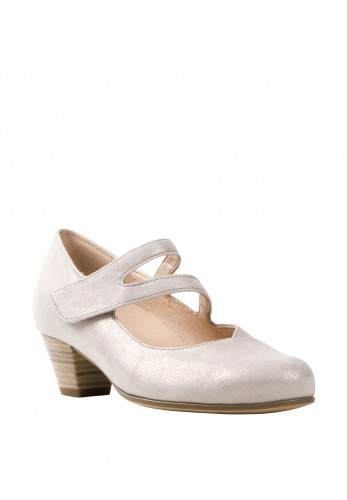 Gabor Womens Leather H OptiFit Velcro Strap Shoes, Beige