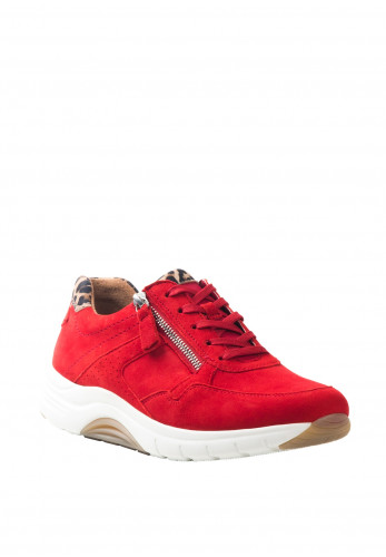 Gabor Suede and Leopard Print Panels Lace Up Trainers, Red
