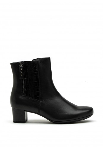 Gabor Comfort Wide G Fit Textured Panel Leather Ankle Boot, Black