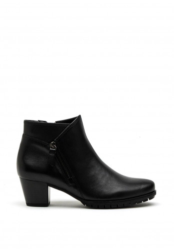 Gabor Comfort Extra Wide H Fit Leather Zip Detail Ankle Boot, Black