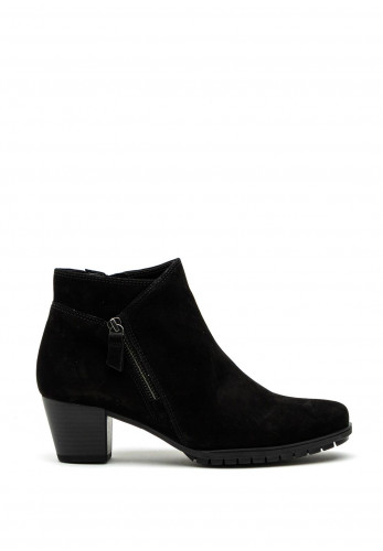 Gabor Comfort Extra Wide H Fit Suede Zip Detail Ankle Boot, Black