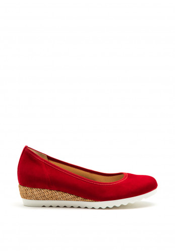 Gabor Suede Woven Wedged Pumps, Red