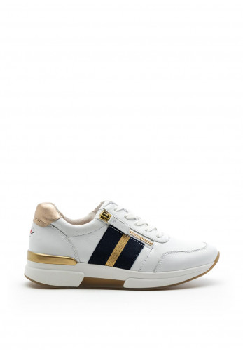 Gabor Rolling Soft Striped Zip Leather Trainers, White