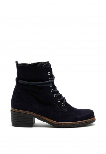 Gabor Suede Leather Lace and Zip Boot, Navy