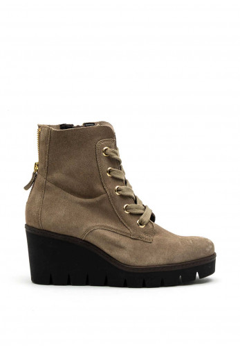 Gabor Suede Leather Wedge Boot, Stone