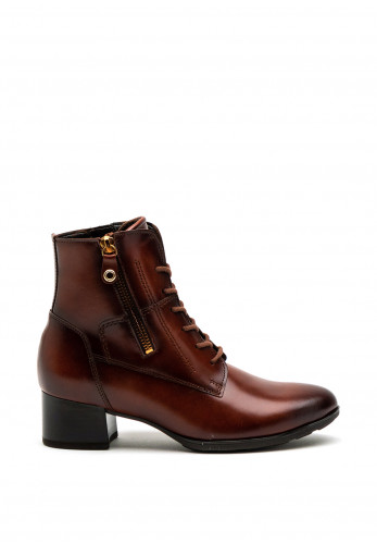 Gabor Leather Lace Up Heeled Boot, Brown