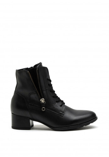 Gabor Leather Lace Up Heeled Boot, Black