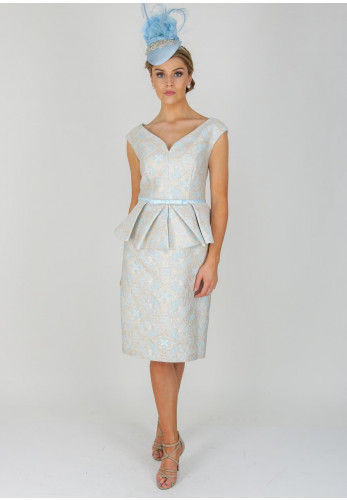 Gabriela Sanchez Jacquard Print Dress, Blue
