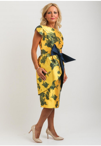 Gabriela Sanchez Floral Bow Trim Dress, Yellow
