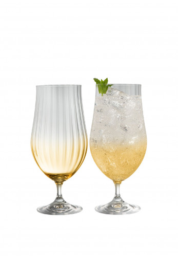 Galway Crystal Erne Craft Beer/Cocktail Glass Pair, Amber