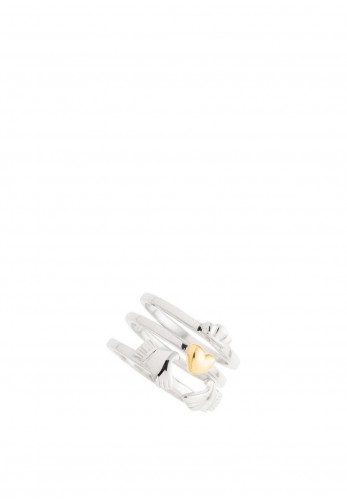 Galway Crystal Three Part Claddagh Sterling Silver & Gold Rings