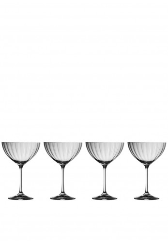 Galway Crystal Erne Saucer Champagne Set of Four Glasses