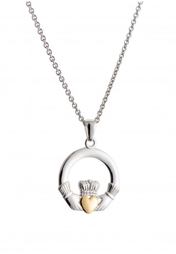 Galway Crystal Claddagh Pendant Sterling Silver & Gold