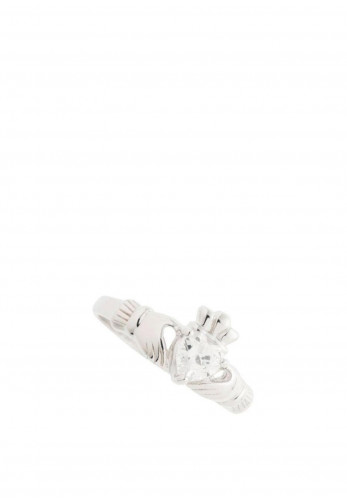 Galway Crystal Claddagh Sterling Silver Crystal Ring
