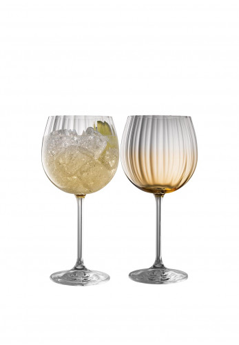 Galway Crystal Erne Gin & Tonic Glasses Pair, Amber