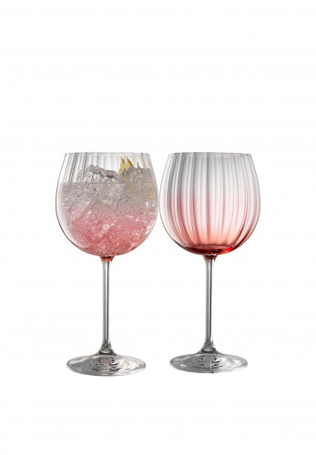 Galway Crystal Erne Gin & Tonic Glasses Pair, Blush