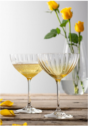 Galway Crystal Erne Cocktail Champagne Saucer Pair, Amber