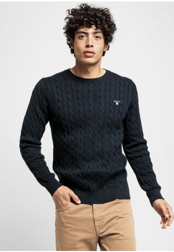 Gant Cable Knit Crew Neck Sweater, Evening Blue