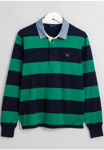 Gant Original Barstripe Heavy Rugger Polo, Kelly Green