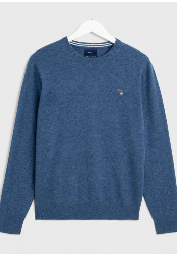 Gant Superfine Lambswool Crew Neck Sweater, Stone Blue