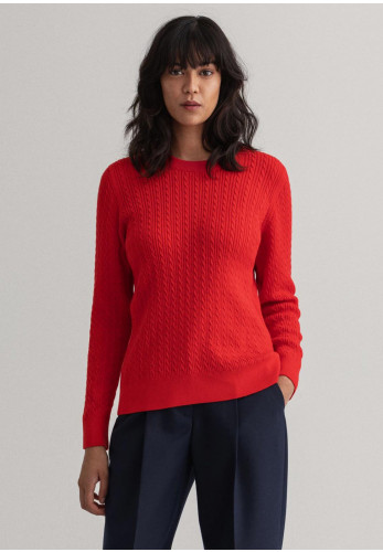 GANT Womens Cable Knit Crew Neck Jumper, Bright Red